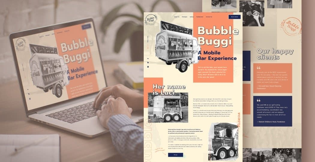 "Web Design for a Mobile Bar Service ""Bubble Buggi"""