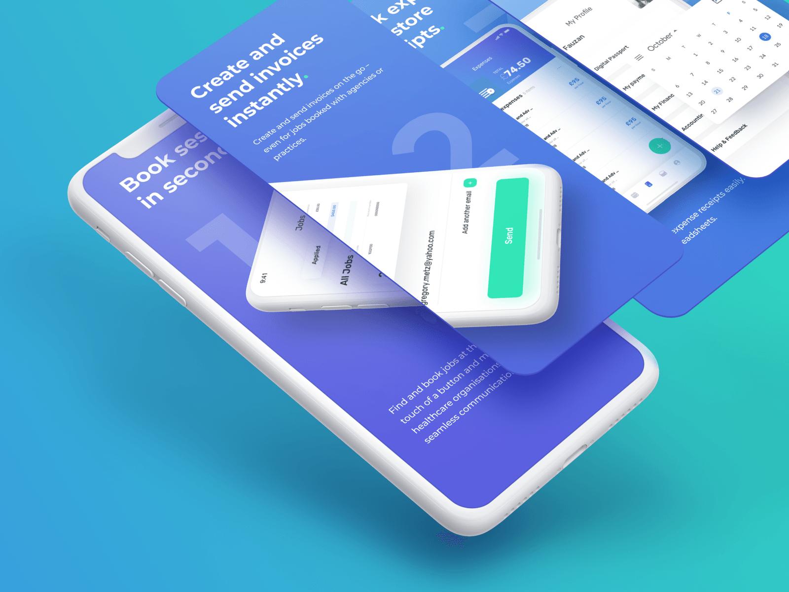 """App Design for Locum Booking App """"Hyre"""""""